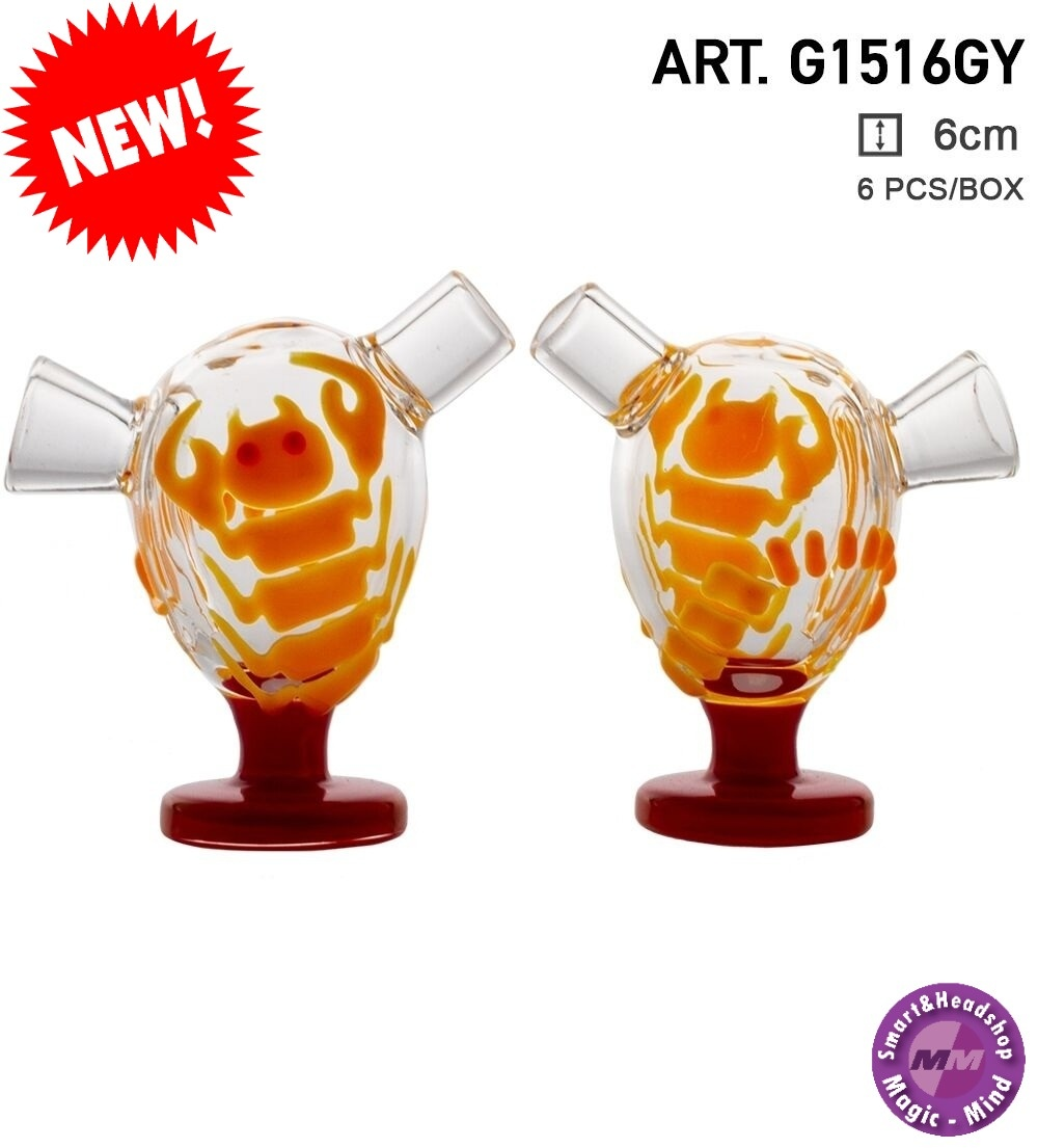 Grace glass Grace Glass   Desert Storm Light Orange   6 pcs in display Glow in the Dark