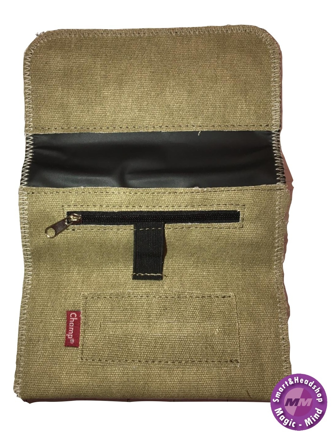 champ Champ Natural Denim Roll Up Zip Rolling Tobacco Pouch