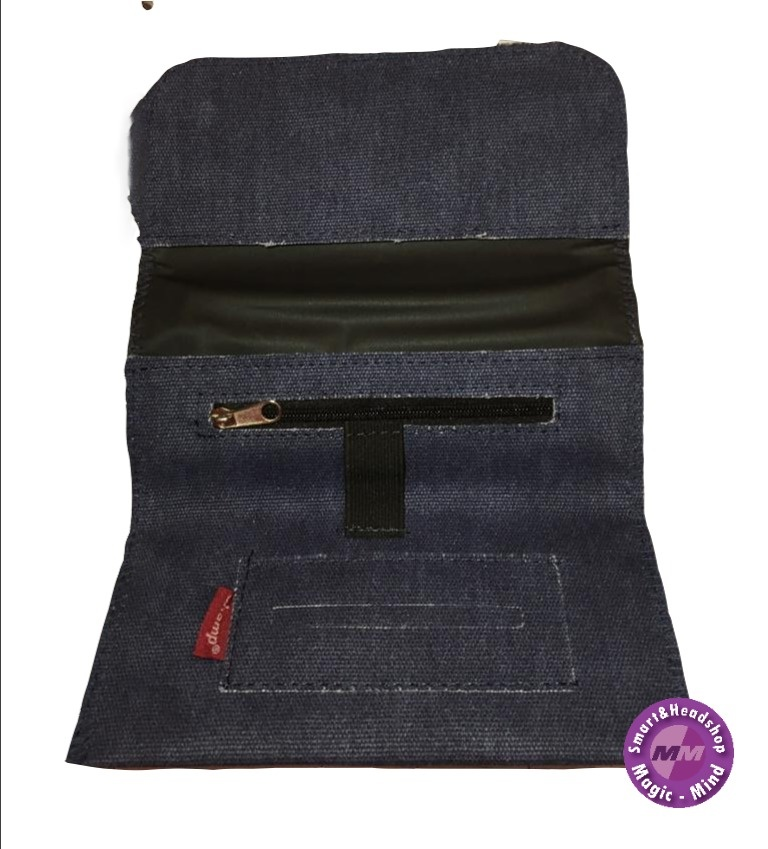 champ Champ Blue Denim Roll Up Zip Rolling Tobacco Pouch
