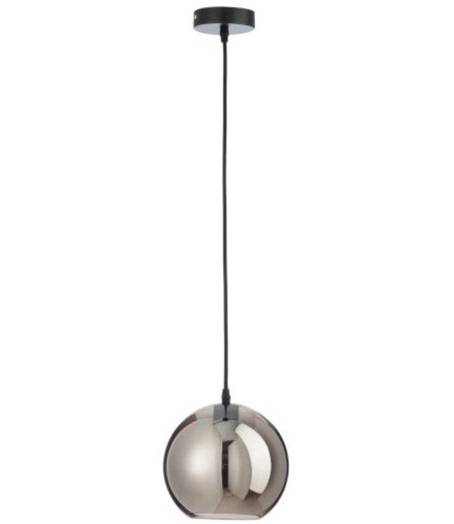 Lamp bol glas zilver klein