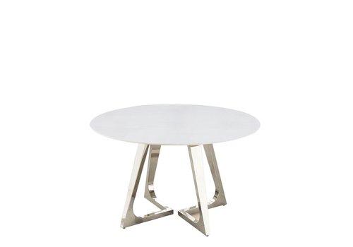 Eettafel  rond marmer chroom onderstel