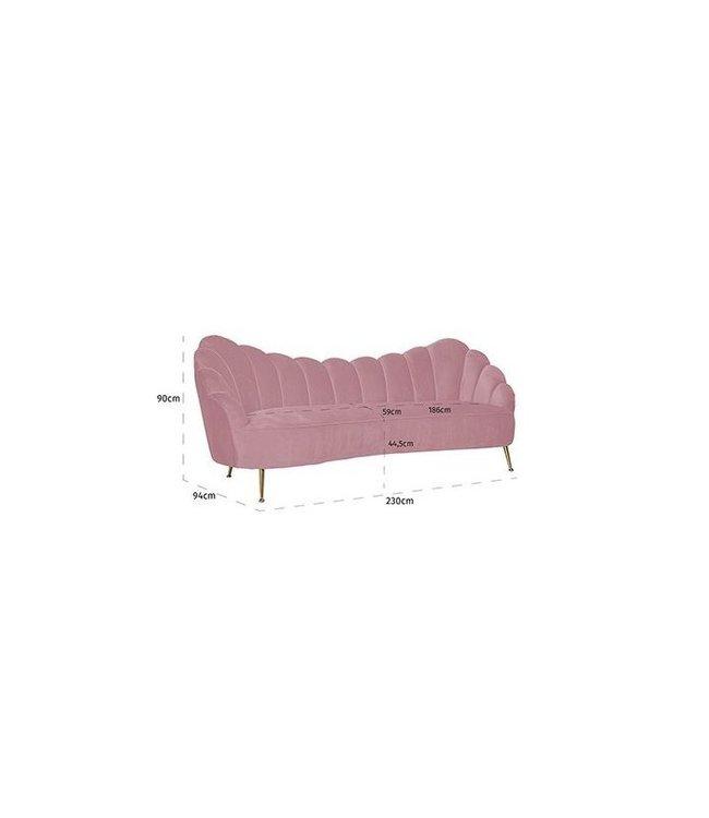 Bank Cosette 3-zits Pink Velvet / gold (Quartz Pink 700) S5120 PINK VELVET
