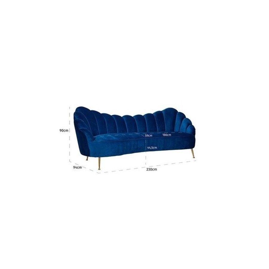 Bank Cosette 3-zits Blue Velvet / gold (Quartz Blue 611) S5120 BLUE VELVET