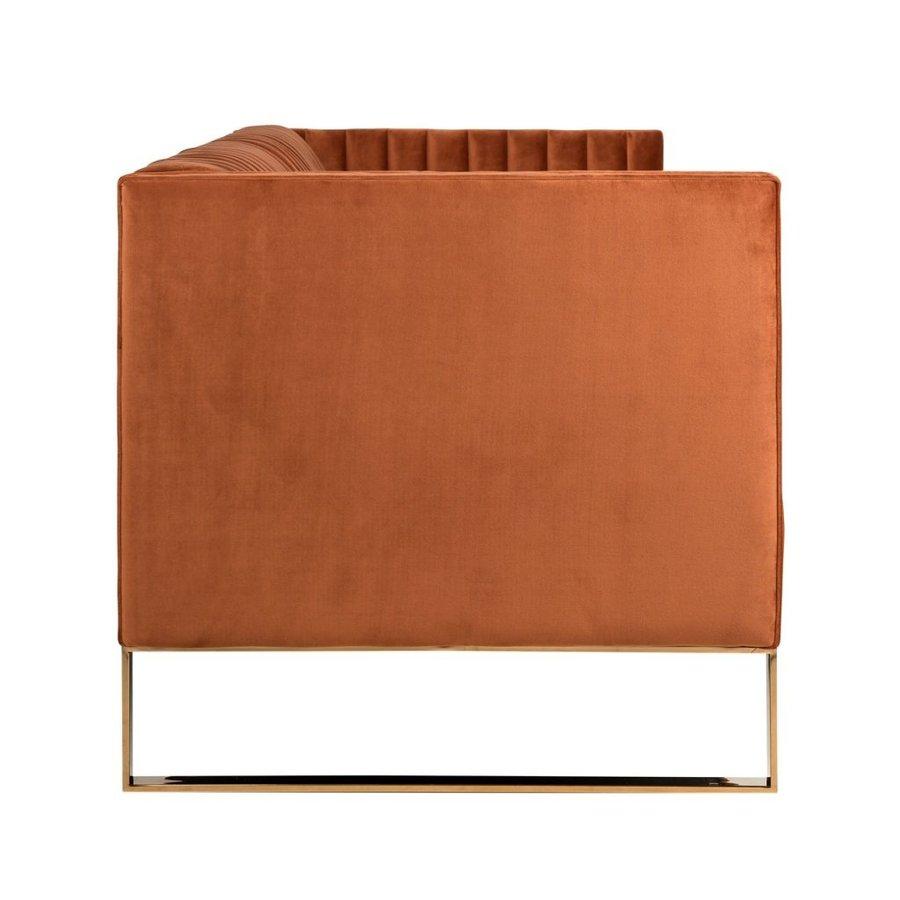 Bank Contessa 3-zits Rust Velvet / gold (Quartz Rust 301) S5111 RUST VELVET