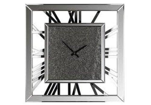 Richmond Interiors Klok Calvin vierkant met glitter (Zilver) -KK-0070