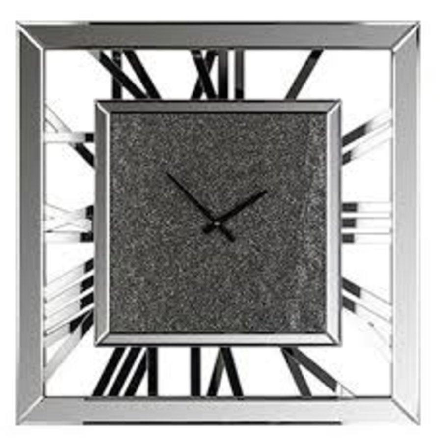 Klok Calvin vierkant met glitter (Zilver) -KK-0070