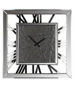 Klok Cheyon vierkant met glitter (Zilver) -KK-0069