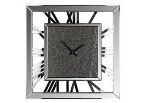 Richmond Interiors Klok Cheyon vierkant met glitter (Zilver) -KK-0069
