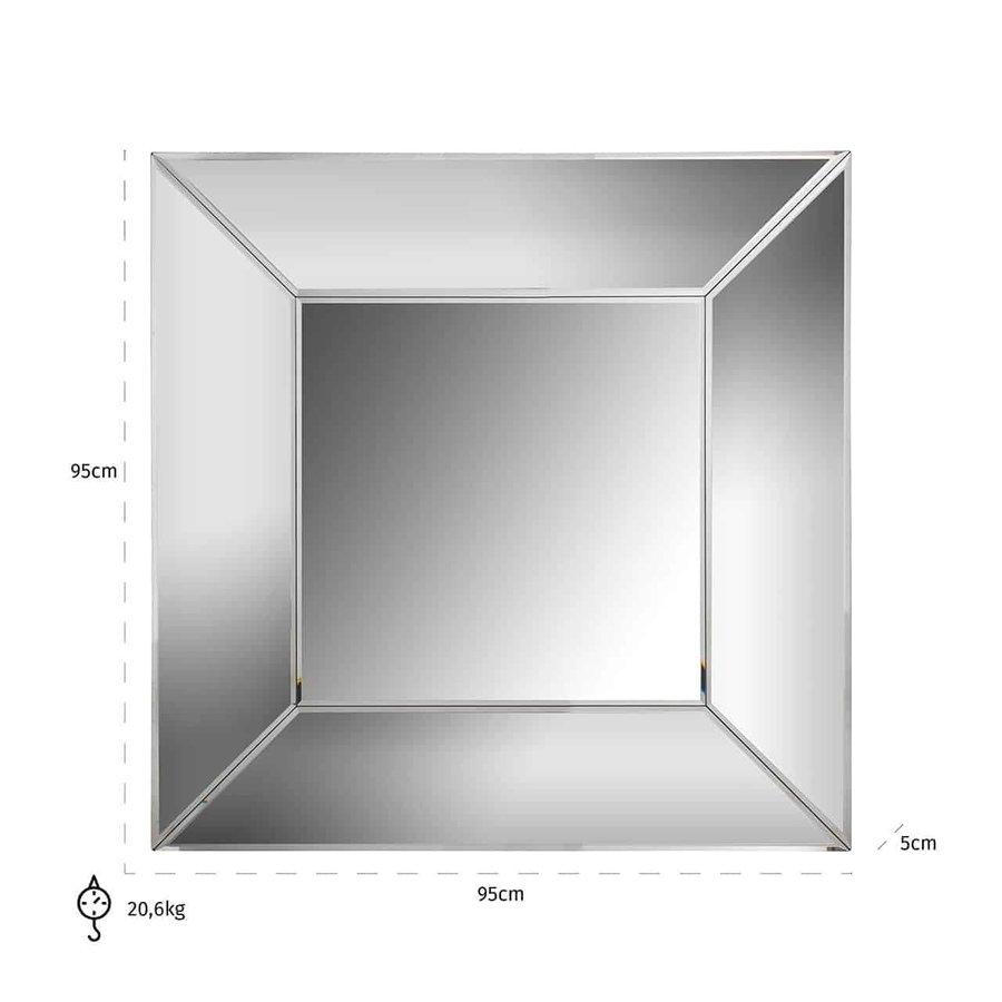Spiegel Benton vierkant met spiegelrand (Zilver) -MI-0029