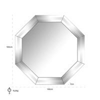 Spiegel Blayne 8-hoekig met spiegelrand (Zilver) -MI-0031