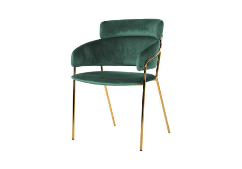 Richmond Interiors Stoel Angelica Green velvet / gold frame Fire Retardant (Quartz Green 501) S4480 GREEN VELVET
