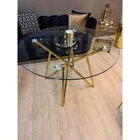 Eettafel Gold + glas