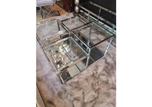 Zila Wonen Salontafel  Liare zilver chroom en glas