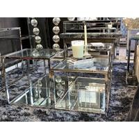 Salontafel Liare zilver chroom en glas