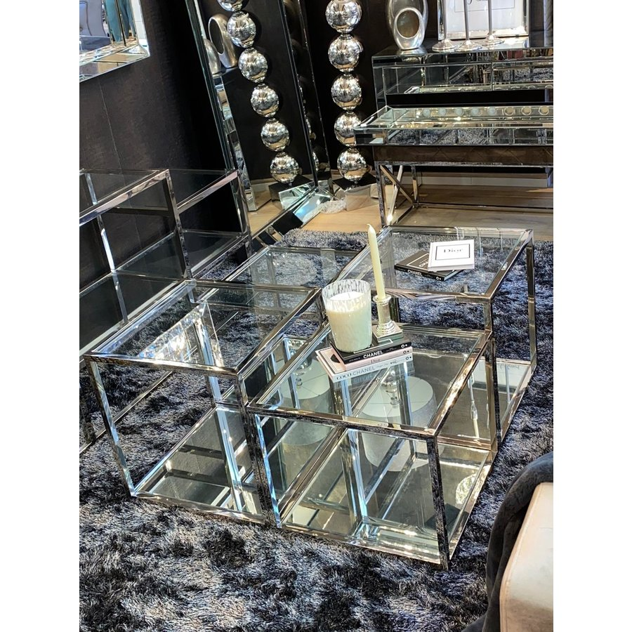 Coffee table silver chrome and glass
