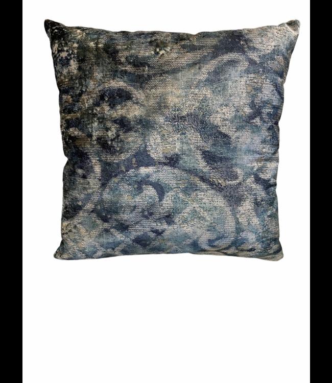 Pillow light blue marble look 50x50cm