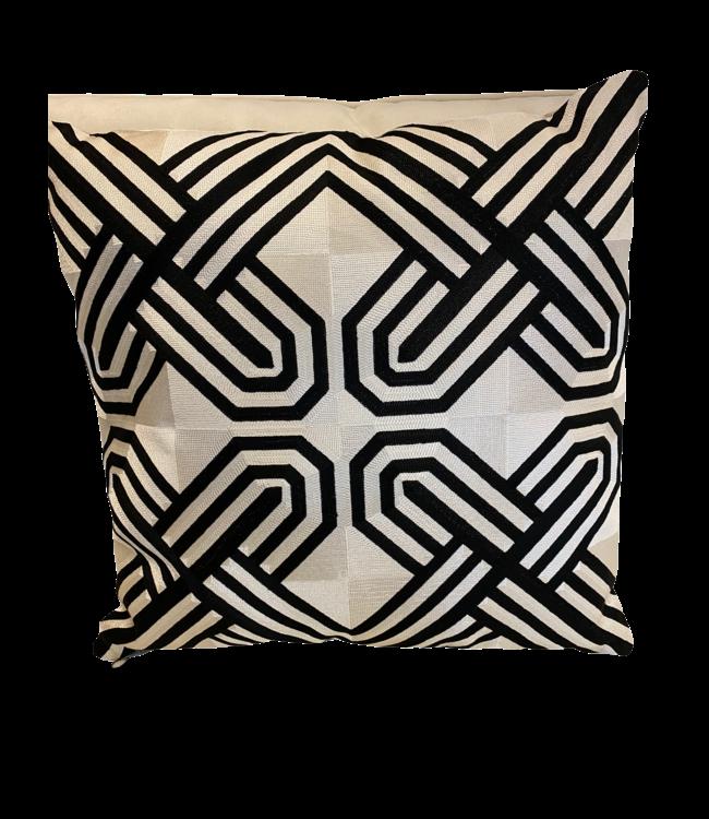 Kussen zwartwit geometric 50x50cm