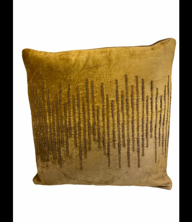 Kussen velvet okergoud met steentjes 45x45cm
