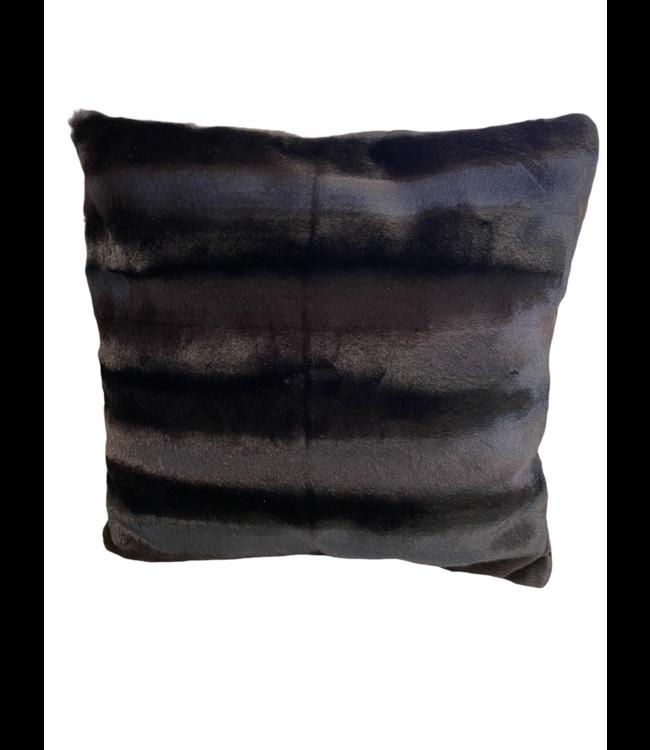 Kussen zachte bont zwart/bruin 45x45cm