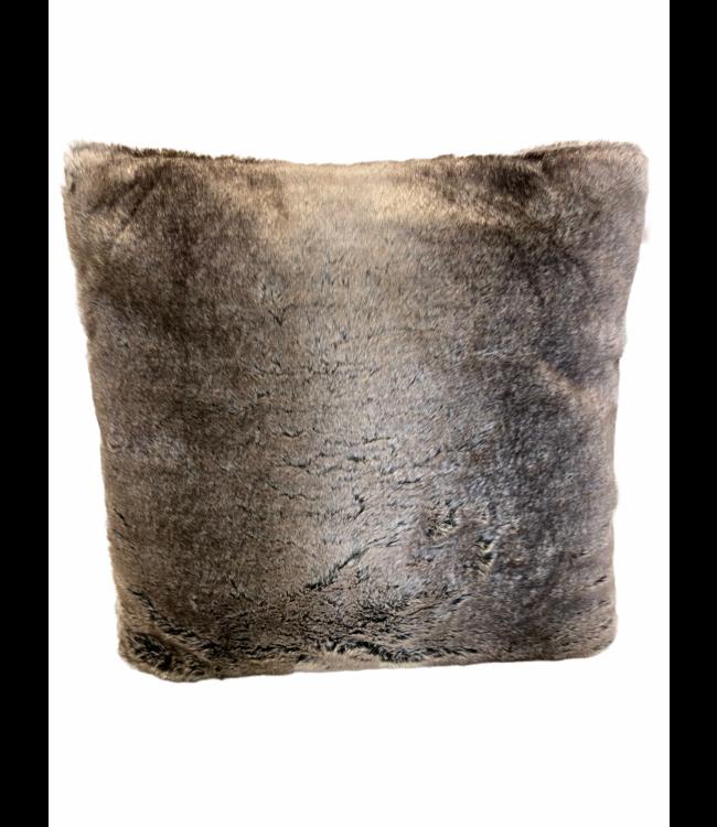 Kussen zachte bont chinchilla mixed taupe 45x45cm