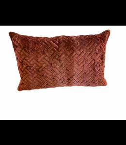 Kussen velvet donker koraalrood 35x55cm