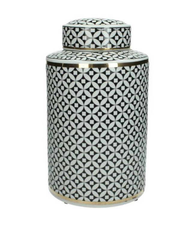 Luxe jar black/white with golden touch