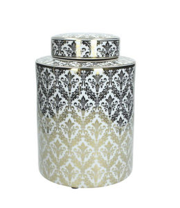 Luxe pot goud/wit barokpatroon 30x20