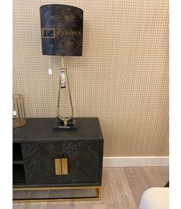 Lampenkap velvet black/gold d30cm