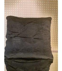 Kussenhoes croco zwart 40x40cm