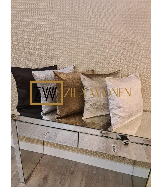 cushion croco taupe 40x40