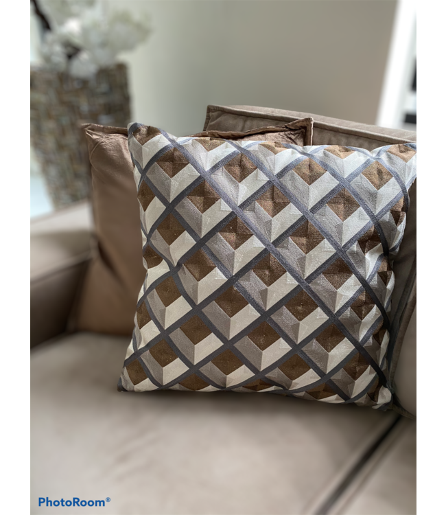 Luxe kussen geometric 50x50 - taupe/goudbroun/grijs