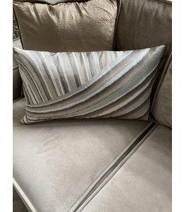 Luxe glam kussen 35x60 - taupe/goudbroun/grijs