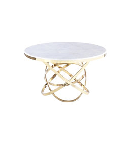 Eettafel Mila rond goud, wit Marmer 130x130x76