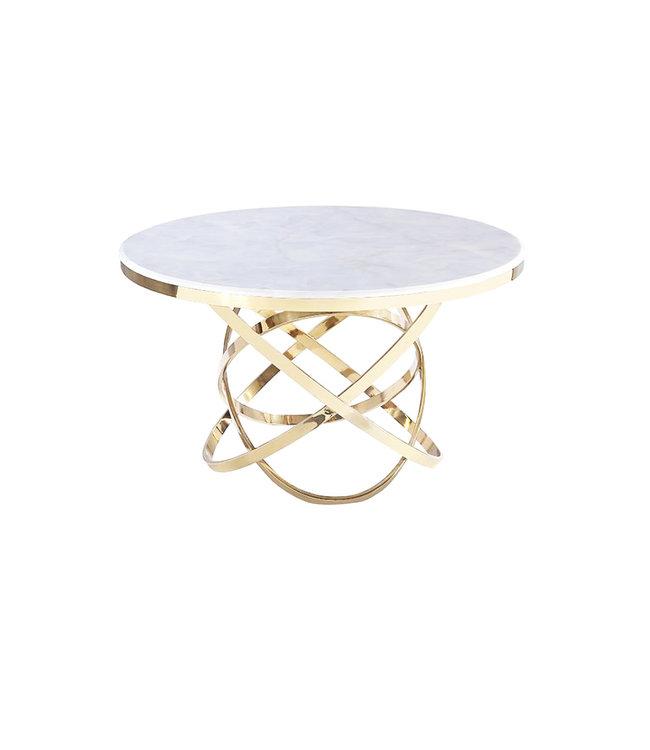 Eettafel Mila rond  goud . wit Marmer 130x130x76
