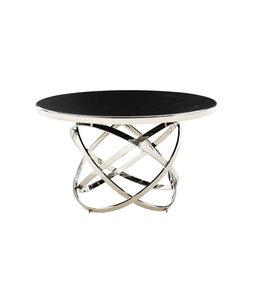 Eettafel Mila rond  zilver zwart blad 130x130x76h