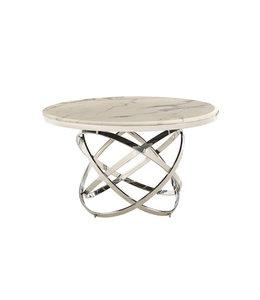 Eettafel Mila rond zilver, wit (Marmer Look) 130x130x76h
