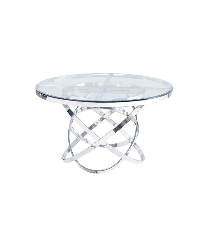 Eettafel Mila rond  zilver transparant  130x130x76h