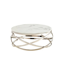 Salontafel Mila rond zilver, wit. (Marmer look) 100x100x42cm
