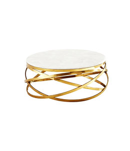 Salontafel Mila rond  Goud, Wit (Marmer Look) 100x100x42cm