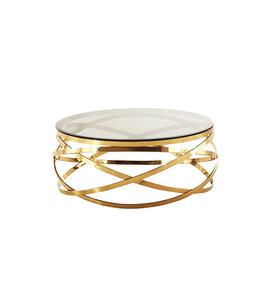 Salontafel Mila rond goud transparant 100x100x42cm
