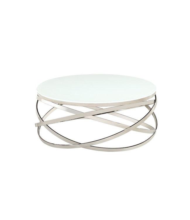 Salontafel Mila zilver wilt glas 100x100x42cm
