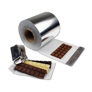 Chocolate bar wrapper on roll