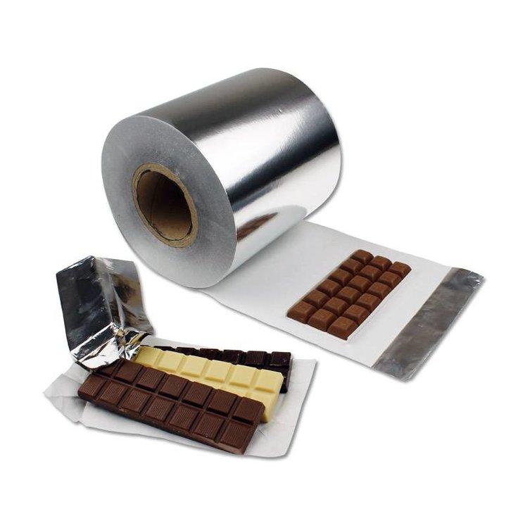 Chocoladereep wikkel folie op rol, 195mm breed aluminiumfolie, gelamineerd met vetvrij papier