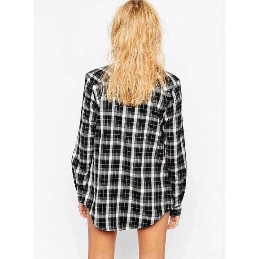 Geruite blouse zwart achterkant - Copy-3