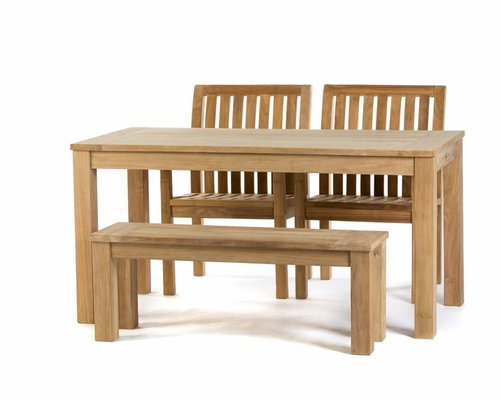 Teak tuinset: James Tafel (160cm)   Comfort dining stoel    James tuinbank 120