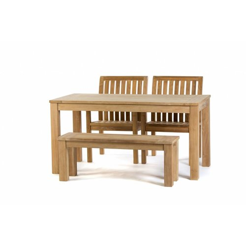 Garden Teak Teak tuinset: James Tafel (160cm) | Comfort dining stoel  | James tuinbank 120