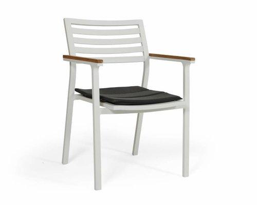 Olivet stapelstoel | Wit | grijs zitkussen | Teak & Aluminium