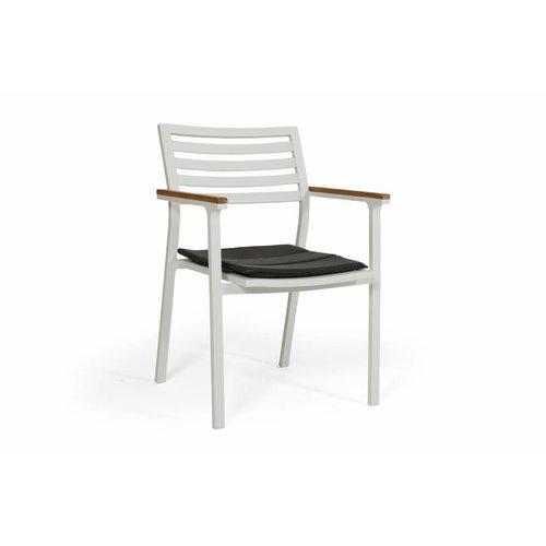 Brafab Dining stapelstoel Olivet | Wit | grijs zitkussen