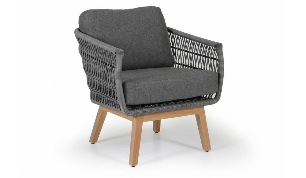 Kenton loungestoel | Teak&Wicker | Grey