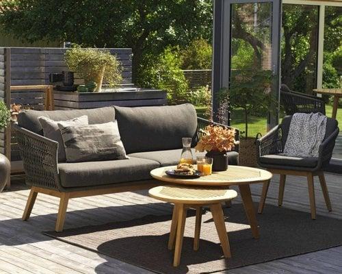 Kenton loungestoel   Teak&Wicker   Grey
